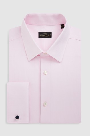Pink Slim Fit Double Cuff Signature Textured Shirt