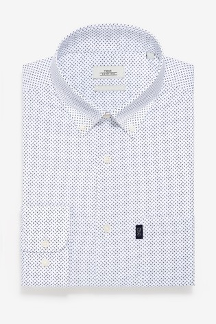 White Print Slim Fit Single Cuff Easy Iron Button Down Oxford Shirt