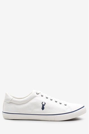 White Canvas Stag Trainers
