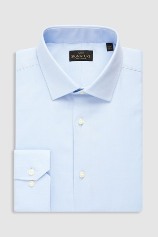 Light Blue Slim Fit Single Cuff Signature Textured Shirt
