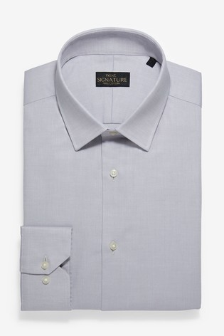 Grey Slim Fit Single Cuff Signature Textured Shirt
