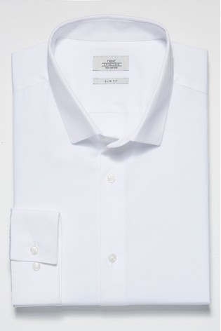 White Slim Fit Single Cuff Cotton Shirt