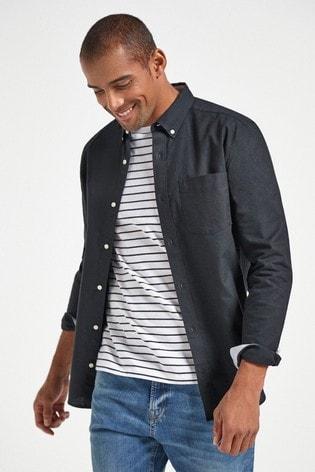Black Regular Fit Long Sleeve Oxford Shirt
