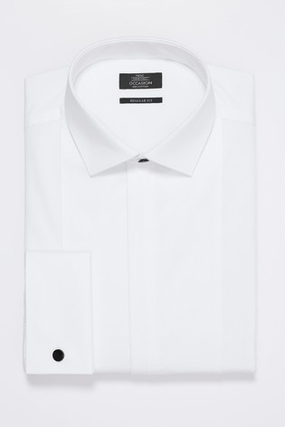 White Slim Fit Double Cuff Bib Fronted Dress Shirt