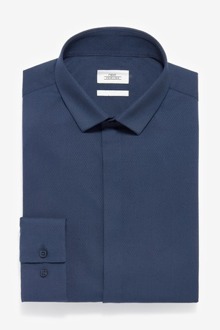 Navy Slim Fit Single Cuff Textured Concealed Placket Shirt