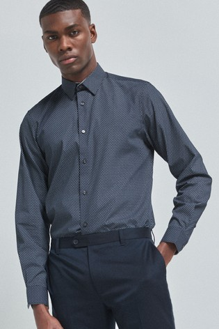 Navy Printed Regular Fit Single Cuff Shirt With Trim Detail