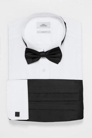 White Slim Fit Double Cuff Wing Collared Shirt With Bow Tie, Cummerbund And Cufflinks