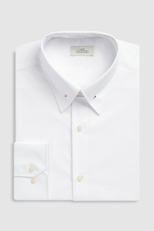 White Slim Fit Pin Collar Easy Care Shirt