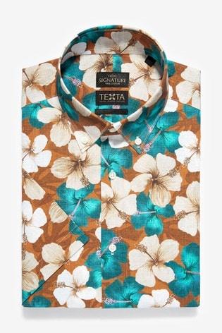 Rust Floral Slim Fit Short Sleeve Italian Fabric Texta Signature Shirt