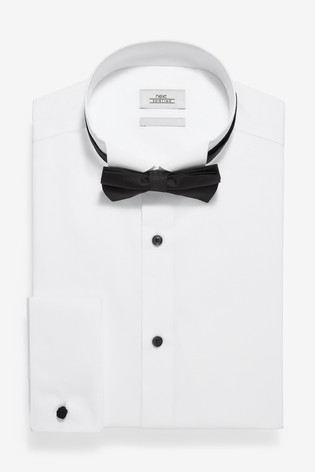 White Slim Fit Double Cuff Wing Collar Shirt And Black Bow Tie Set