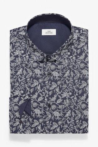 Navy/White Slim Fit Single Cuff Floral Print Shirt