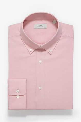 Pink Slim Fit Single Cuff Easy Care Oxford Shirt