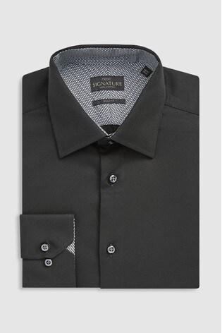 Black Slim Fit Single Cuff Signature Textured Shirt