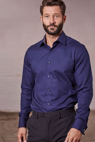 Navy Regular Fit Double Cuff Signature Textured Shirt
