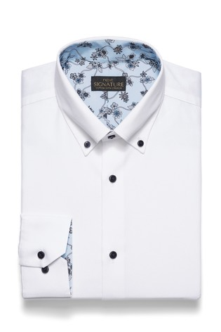 White Regular Fit Single Cuff Textured Stretch Signature Button Down Shirt With Trim Detail