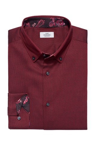 Burgundy Button Down Regular Fit Single Cuff Contrast Trim Shirt