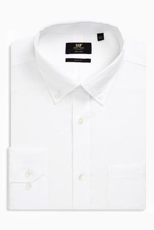 White Slim Fit Single Cuff Signature Nova Fides Linen Shirt