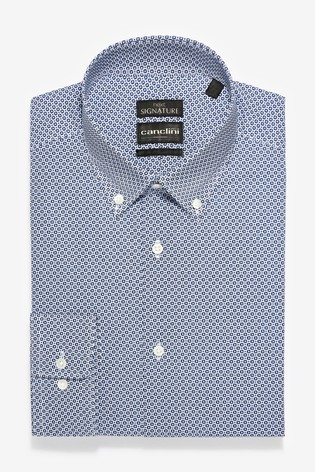 Navy Slim Fit Geometric Print Canclini Signature Shirt