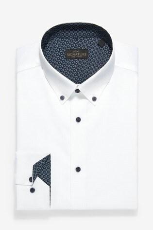 White Button Down Collar Slim Fit Single Cuff Trim Detail Signature Shirt