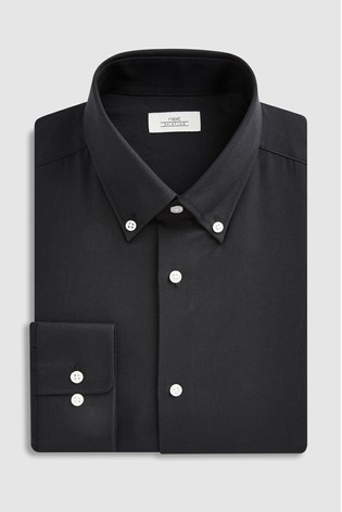 Black Slim Fit Single Cuff Easy Care Oxford Shirt