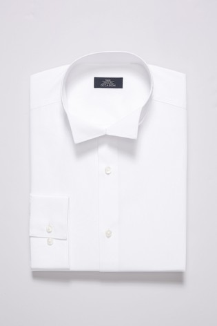 White Slim Fit Single Cuff Wing Collar Shirt