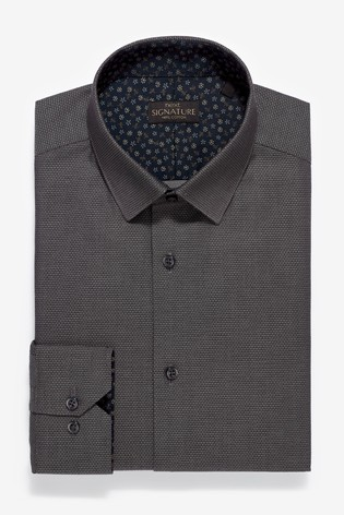 Charcoal Slim Fit Single Cuff Trim Detail Signature Shirt