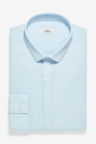 Light Blue Slim Fit Single Cuff Textured Concealed Placket Shirt