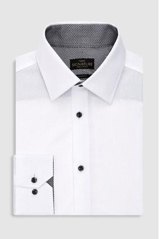 White Slim Fit Single Cuff Signature Textured Shirt