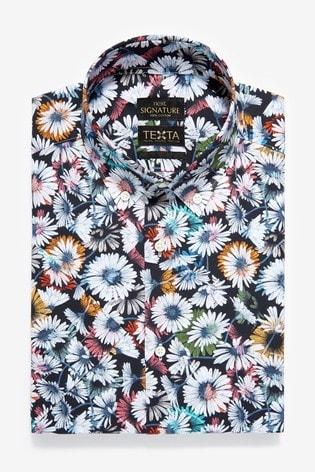Black Floral Slim Fit Short Sleeve Italian Fabric Texta Signature Shirt
