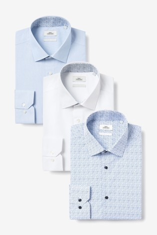 Blue Slim Fit Single Cuff Print And Contrast Trim Shirts Three Pack