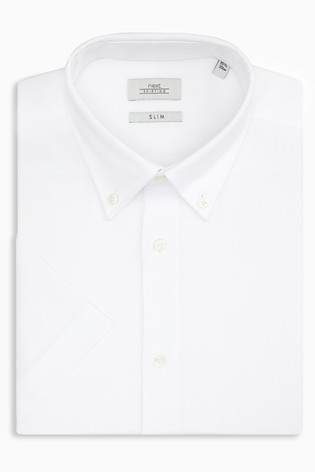 White Slim Fit Short Sleeve Easy Care Oxford Shirt