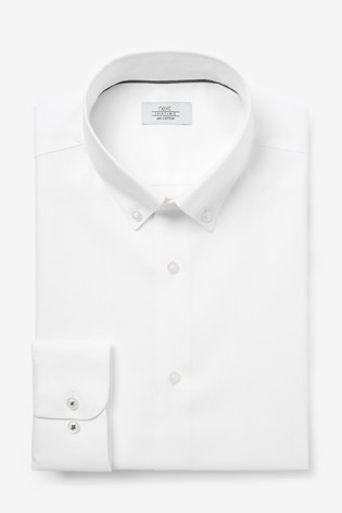 White Button Down Collar Slim Fit Single Cuff Cotton Textured Shirt