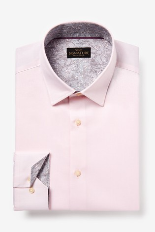 Pink Slim Fit Single Cuff Signature Textured Shirt With Trim Detail