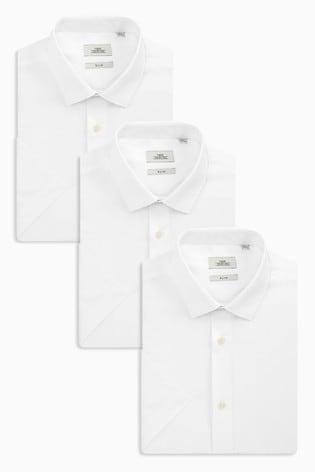 White Slim Fit Short Sleeve Shirts Three Pack