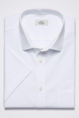 White Slim Fit Short Sleeve Cotton Shirt