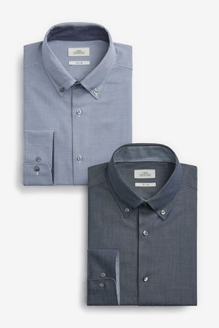 Blue Slim Fit Plain And Check Shirts Two Pack