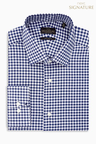 Navy Regular Fit Single Cuff Signature Gingham Shirt
