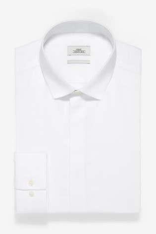 White Slim Fit Single Cuff Textured Concealed Placket Shirt