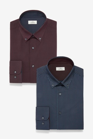 Burgundy Slim Fit Plain And Print Shirts Two Pack