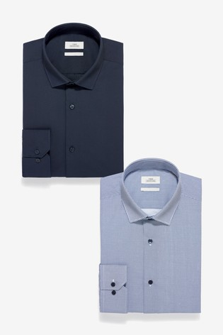 Navy Slim Fit Single Cuff Slim Fit Plain And Print Shirts Two Pack