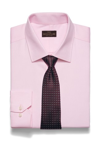 Pink Slim Fit Single Cuff Signature Textured Shirt