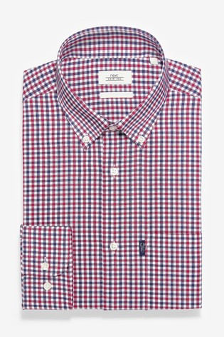 Red/Navy Gingham Check Regular Fit Single Cuff Easy Iron Button Down Oxford Shirt