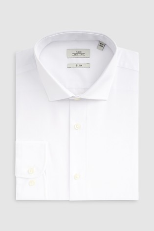 White Slim Fit Single Cuff Easy Care Shirt