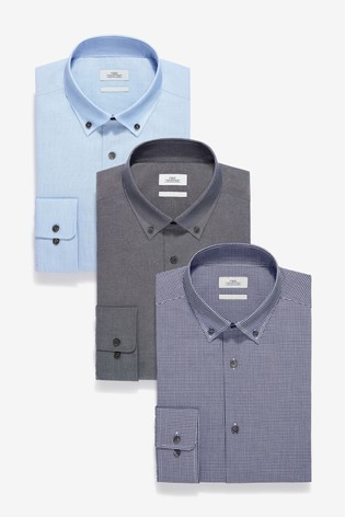 Dark Blue Slim Fit Single Cuff Check And Texture Shirts Three Pack