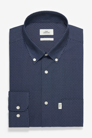 Navy Print Regular Fit Single Cuff Easy Iron Button Down Oxford Shirt