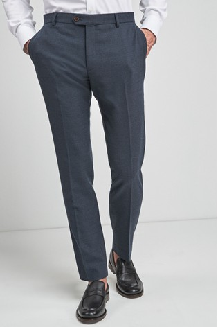 Navy Slim Fit Signature Wool Blend Stretch Flannel Trousers