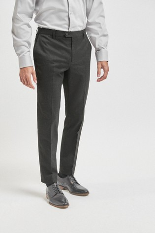 Charcoal Skinny Fit Trousers With Stretch