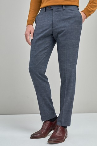 Blue Slim Fit Signature Wool Blend Stretch Flannel Trousers