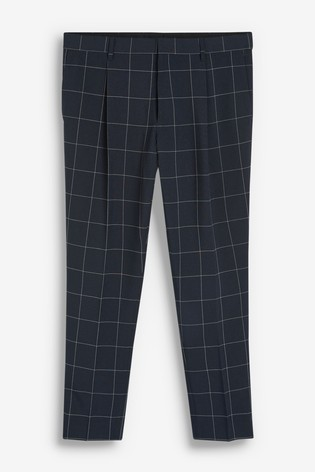 Navy Slim Tapered Windowpane Check Trousers