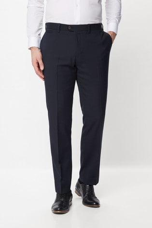 Navy Regular Fit Wool Blend Textured Trousers